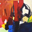 Toile laquée 40x40 Abstraction peint à la main