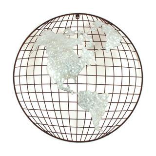 Décoration murale Mappe monde en métal 22po