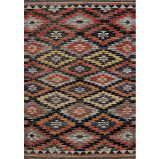 Tapis Tribal Sara Noir Orange Rouge