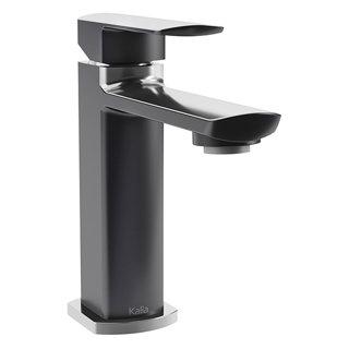 Robinet de lavabo monotrou avec drain à pression et trop-plein Grafik - Noir et chrome