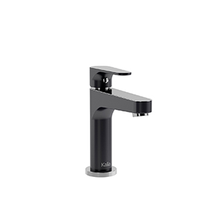 Robinet de lavabo monotrou avec drain à pression et trop-plein Kontour - Noir et chrome
