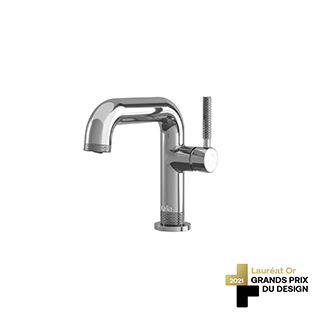 Robinet de lavabo monotrou avec drain à pression et trop-plein Preciso - Chrome