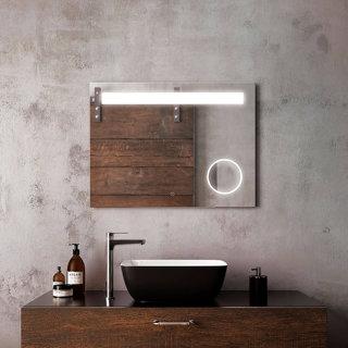 """Miroir à éclairage DEL 32"""" x 24"""" Emblem avec bande givrée horizontale à l'intérieur et miroir grossissant (3X)"""