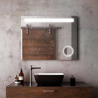 """Miroir à éclairage DEL 38"""" x 30"""" Emblem avec bande givrée horizontale à l'intérieur et miroir grossissant (3X)"""
