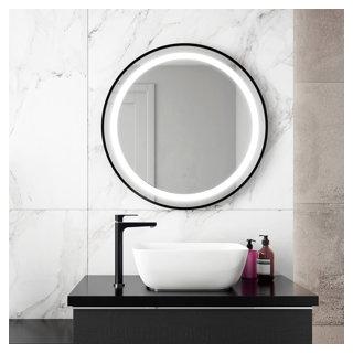"""Miroir à éclairage DEL 30"""" x 30"""" Effect avec bande givrée à l'intérieur, cadre noir et interrupteur tactile pour contrôle de température de couleur"""
