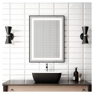"""Miroir à éclairage DEL 24"""" x 32"""" Effect avec bande givrée à l'intérieur, cadre noir et interrupteur tactile pour contrôle de température de couleur"""