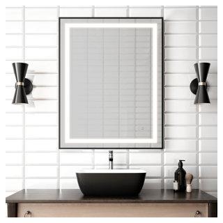 """Miroir à éclairage DEL 30"""" x 38"""" Effect avec bande givrée à l'intérieur, cadre noir et interrupteur tactile pour contrôle de température de couleur"""