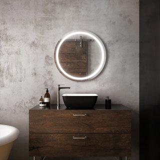 Miroir rond à éclairage DEL 30 x 30 Effect avec bande givrée à l'intérieur