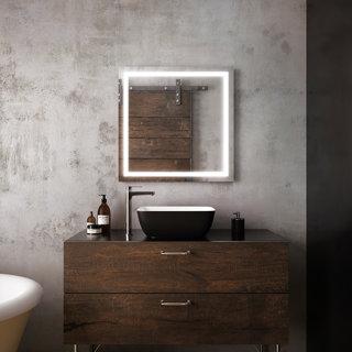 """Miroir à éclairage DEL 30"""" x 30"""" Effect avec bande givrée à l'intérieur"""