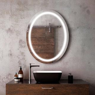 Miroir ovale à éclairage DEL 30 x 38 Effect avec bande givrée à l'intérieur