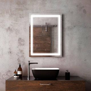"""Miroir à éclairage DEL 24"""" x 32"""" Effect avec bande givrée à l'intérieur"""