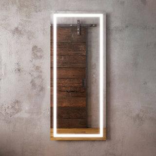 """Miroir pour penderie à éclairage DEL 24"""" x 56"""" Effect avec bande givrée à l'intérieur"""