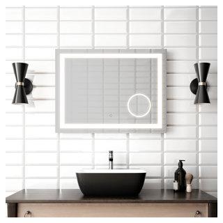 """Miroir à éclairage DEL 32"""" x 24"""" Effect avec bande givrée, miroir grossissant illuminé (3X) et interrupteur tactile pour contrôle de température de couleur"""