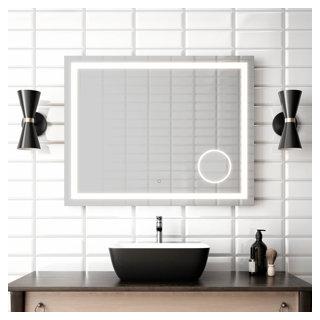 """Miroir à éclairage DEL 38"""" x 30"""" Effect avec bande givrée, miroir grossissant illuminé (3X) et interrupteur tactile pour contrôle de température de couleur"""