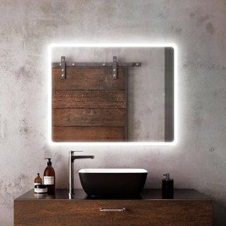 """Miroir à éclairage DEL 30"""" x 38"""" Profila avec pourtour de bande givrée en acrylique"""