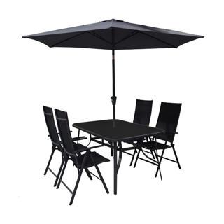 Ensemble à dîner 6 pièces incluant le parasol