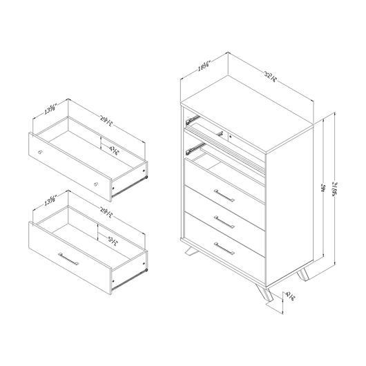 Commode de rangement 5 tiroirs South Shore