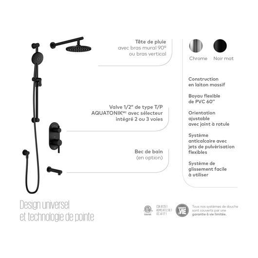 Système de douche thermostatique RoundOne avec valve de type T/P AQUATONIK™ avec sélecteur 2 voies et bras vertical - Noir mat Kalia
