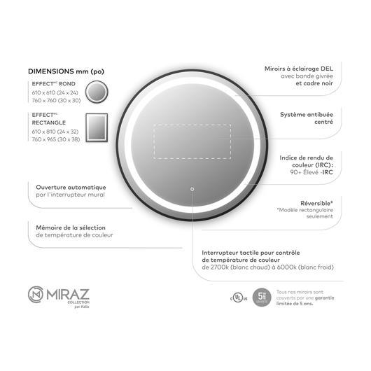 """Miroir à éclairage DEL 24"""" x 24"""" Effect avec bande givrée à l'intérieur, cadre noir et interrupteur tactile pour contrôle de température de couleur Kalia"""