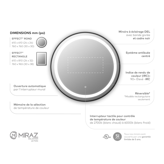 """Miroir à éclairage DEL 30"""" x 30"""" Effect avec bande givrée à l'intérieur, cadre noir et interrupteur tactile pour contrôle de température de couleur Kalia"""