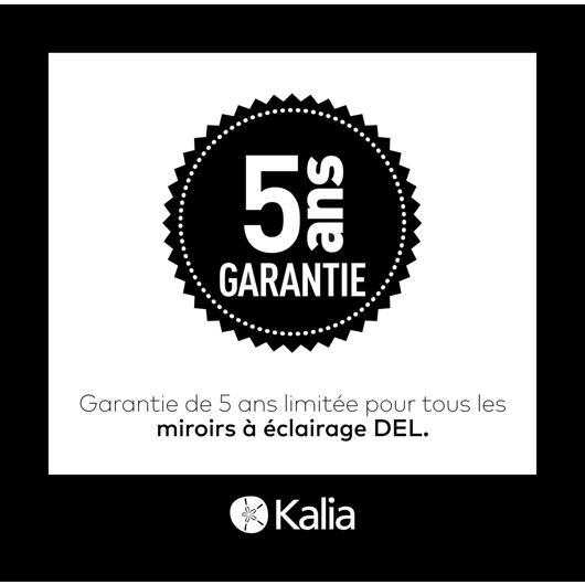 """Miroir à éclairage DEL 24"""" x 32"""" Effect avec bande givrée à l'intérieur, cadre noir et interrupteur tactile pour contrôle de température de couleur Kalia"""