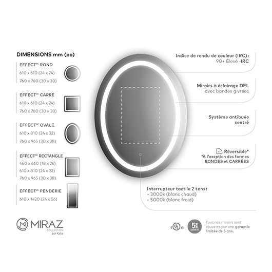 """Miroir à éclairage DEL 30"""" x 38"""" Effect avec bande givrée à l'intérieur Kalia"""
