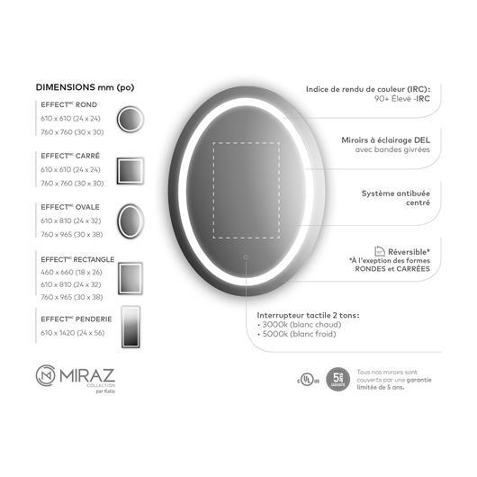 """Miroir à éclairage DEL 32"""" x 24"""" Effect avec bande givrée, miroir grossissant illuminé (3X) et interrupteur tactile pour contrôle de température de couleur Kalia"""