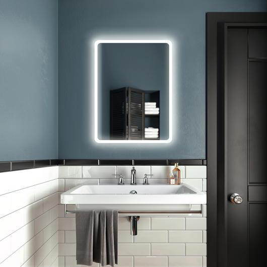 """Miroir à éclairage DEL 24"""" x 32"""" Profila avec pourtour de bande givrée en acrylique Kalia"""